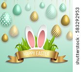 Stock vector happy easter template with gold ribbon and eggs bunny ears dotted green background vector 583292953