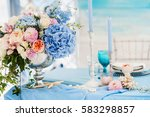 beautiful decorated table set... | Shutterstock . vector #583298857