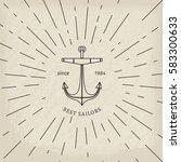 retro nautical lineart label.... | Shutterstock .eps vector #583300633