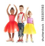 cute little dancers on white... | Shutterstock . vector #583305583