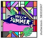 trendy vector summer cards...   Shutterstock .eps vector #583310347