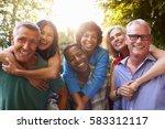 mature friends giving... | Shutterstock . vector #583312117