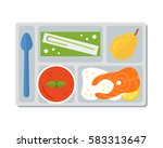 lunch on a tray  vegetable soup ... | Shutterstock .eps vector #583313647