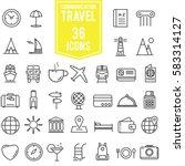 travel icons set line ... | Shutterstock .eps vector #583314127