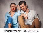relaxed young casual couple... | Shutterstock . vector #583318813