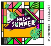 trendy vector summer cards...   Shutterstock .eps vector #583321087