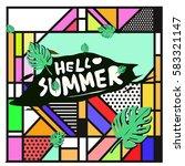 trendy vector summer cards...   Shutterstock .eps vector #583321147