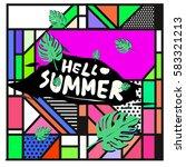 trendy vector summer cards...   Shutterstock .eps vector #583321213