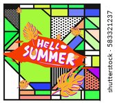 trendy vector summer cards...   Shutterstock .eps vector #583321237