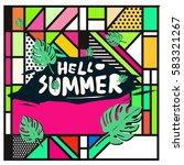 trendy vector summer cards...   Shutterstock .eps vector #583321267