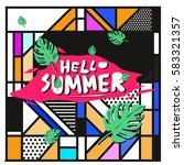 trendy vector summer cards...   Shutterstock .eps vector #583321357