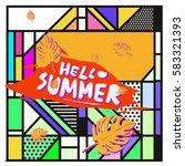 trendy vector summer cards...   Shutterstock .eps vector #583321393