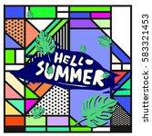 trendy vector summer cards...   Shutterstock .eps vector #583321453