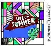 trendy vector summer cards...   Shutterstock .eps vector #583321477
