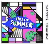 trendy vector summer cards...   Shutterstock .eps vector #583321543