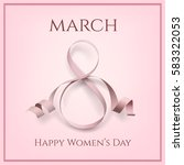 8 march greeting card template... | Shutterstock . vector #583322053