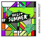 trendy vector summer cards...   Shutterstock .eps vector #583324117