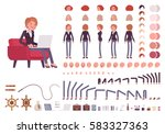 Female manager character creation set. Full length, different views, isolated against white background. Build your own design. Cartoon flat-style infographic illustration | Shutterstock vector #583327363