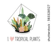 hand drawn wild tropical house... | Shutterstock .eps vector #583328527