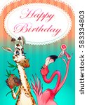 happy birthday card with funny... | Shutterstock .eps vector #583334803