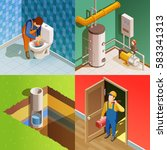 plumber fixing problem concept... | Shutterstock .eps vector #583341313