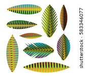 set abstract tropical leaves... | Shutterstock .eps vector #583346077