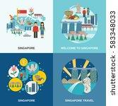 tourist attractions in... | Shutterstock .eps vector #583348033