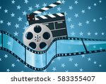 film roll  clapper and film.  | Shutterstock .eps vector #583355407