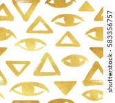 gold brush drawn eyes and... | Shutterstock .eps vector #583356757