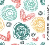 simple pattern with hearts and... | Shutterstock .eps vector #583363243