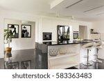 black and white villa interior... | Shutterstock . vector #583363483