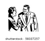 men shaking hands   retro clip... | Shutterstock .eps vector #58337257