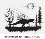 dinosaur t rex in strange... | Shutterstock .eps vector #583377103