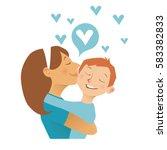 mom hugs her child.  flat...   Shutterstock .eps vector #583382833