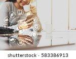 woman use smartphone  internet...   Shutterstock . vector #583386913