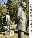 """Small photo of ISTANBUL,TURKEY-FEBRUARY 17,2017:Bronze statue of the murdered 12 intellectuals between 1978 and 1999 """"Democracy Hero"""" project was erected by Abbas Aga Park in Besiktas."""