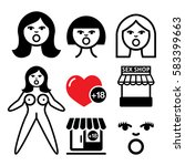 inflatable sex doll  sex shop... | Shutterstock .eps vector #583399663