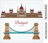 hungarian parliament building... | Shutterstock .eps vector #583401883