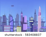 future city flat illustration.... | Shutterstock .eps vector #583408837