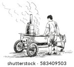 hand drawn street food  man... | Shutterstock .eps vector #583409503