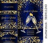 luxury wedding invitation and... | Shutterstock .eps vector #583411243