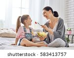 happy loving family. mother and ... | Shutterstock . vector #583413757