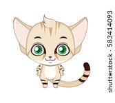 cute stylized cartoon sand cat...   Shutterstock .eps vector #583414093