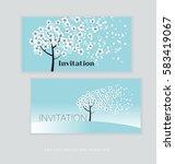 spring blossom invitation card... | Shutterstock .eps vector #583419067