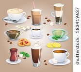 big coffee and tea collection... | Shutterstock .eps vector #583419637