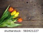 Tulips On Wooden Vintage...