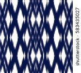 blue ikat ogee seamless... | Shutterstock .eps vector #583435027