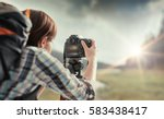 professional hiker and... | Shutterstock . vector #583438417