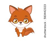 cute stylized cartoon fox... | Shutterstock .eps vector #583442323