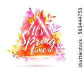 design banner it's spring time. ... | Shutterstock .eps vector #583444753